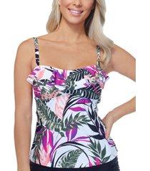 island escape aloha palms printed tankini top, created for macy's women's swimsuit
