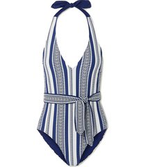luchia belted stretch-jacquard swimsuit