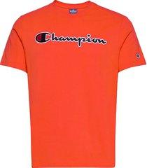 crewneck t-shirt t-shirts short-sleeved orange champion