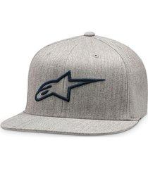 gorro ageless flat hat gris/azul alpinestars