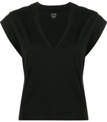 frame le high rise muscle black t-shirt