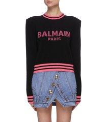 logo intarsia shoulder pad sweater
