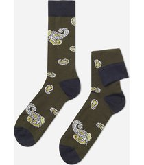 calzedonia classic patterned ankle socks man green size tu