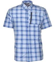 camisa estampada manga corta azul p. vela kannú