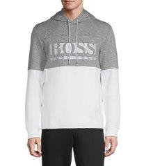 boss hugo boss men's soody colorblock heathered stretch hoodie - white - size xl
