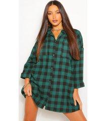 lang oversized geblokte blousejurk, groen