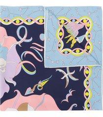emilio pucci mirabilis print silk-twill square scarf - blue