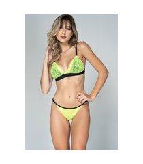 conjunto feminino lingerie neon serra e mar modas com renda verde