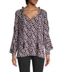 kobi halperin larsen floral silk blouse - black multi - size s