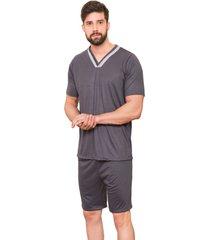 pijama masculino manga curta gola v - cinza - masculino - dafiti