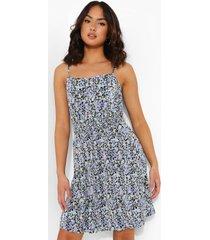 bloemenpatroon plisse skater jurk, blue