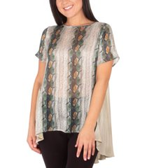 ny collection petite contrast pleated-back high-low top