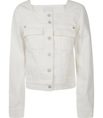 givenchy square neck buttoned trucker jacket
