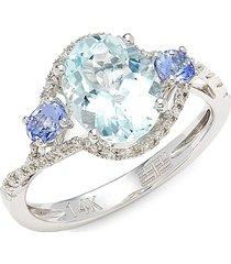 effy women's 14k white gold & multi-stone ring - size 7