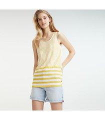 tommy hilfiger women's linen mix stripe tank top spectra yellow - xs
