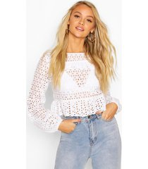 broderie ruffle long sleeve blouse, white