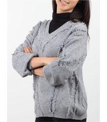 sweater gris minari flecos
