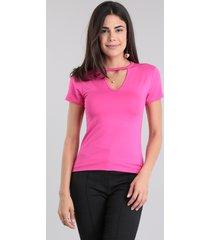 blusa básica choker pink