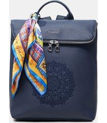 square backpack scarf - blue - u