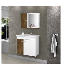 kit gabinete banheiro móveis bechara munique madeira rústica/branco