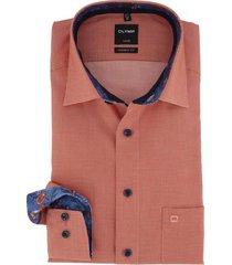 olymp overhemd oranje geruit strijkvrij