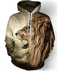men's hoodies sweatshirt men funny 3d lion fashion