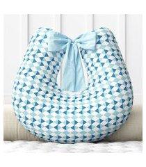 almofada amamentação azul losango zíper grão de gente azul