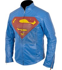custom handmade made superman genuine leather jacket christopher revees jacket