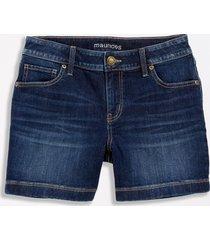 maurices womens dark wash wide hem 5in shorts blue