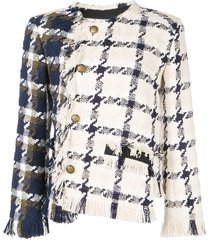 monse two-tone twisted tweed jacket - white