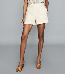 reiss lana - textured tailored shorts in white, womens, size 10