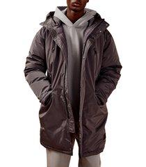 men's topman oversize tech hooded puffer jacket, size small - grey