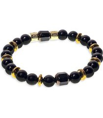 jean claude men's goldplated, sterling silver, onyx & mixed crystal beaded bracelet