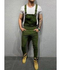 hombres moda big pockets casual suspender rompers mono monos pantalones