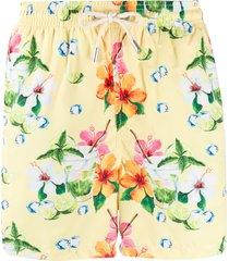mc2 saint barth ultralight floral print swim shorts - yellow