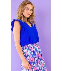 v-hals ruffle blouse kobalt