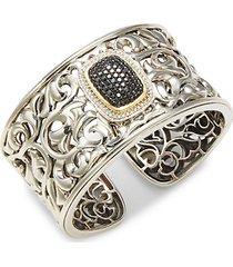 14k white gold, 18k yellow gold & sterling silver black & white diamond hinge cuff bracelet