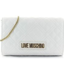 love moschino quilted nappa white clutch