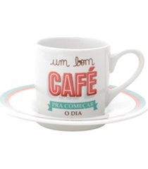 conjunto lyor com 6 xícaras para café de porcelana bom dia branca