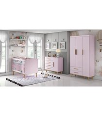 dormitorio ludmila guarda roupa 3 portas cã´moda fraldã¡rio berã§o rosa/bã©tula carolina baby - rosa - dafiti