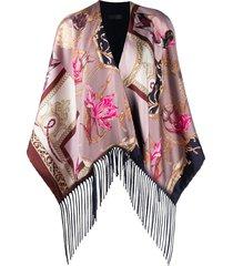 salvatore ferragamo duck-print silk poncho - pink