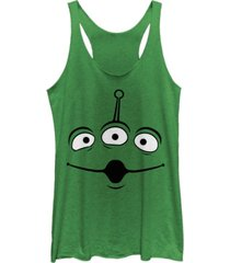 fifth sun disney pixar women's toy story aliens face tri-blend tank top