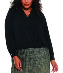belldini black label women's plus size collared wrap top