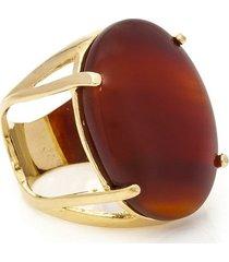 anel banho de ouro de agata