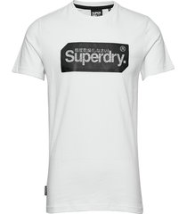 core logo tag tee t-shirts short-sleeved vit superdry