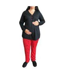 pijama linda gestante panda inverno amamentação e pós parto com botões feminino