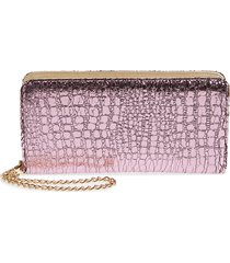 women's bp. embossed faux leather wallet - pink