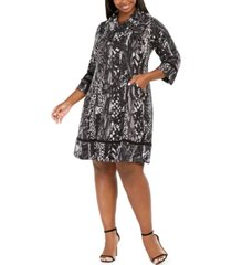 robbie bee plus size cowlneck printed sweater dress