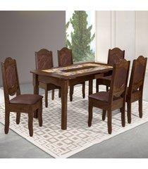 mesa de jantar 6 lugares imperial rústico/marrom - art panta