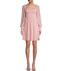 allison new york women's printed smocked mini dress - pink floral - size m